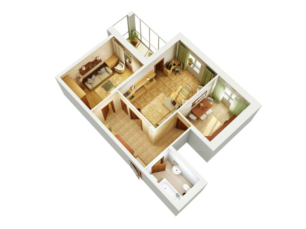 Планировка - 1х комнатная квартира, тип 1 серия 1-255