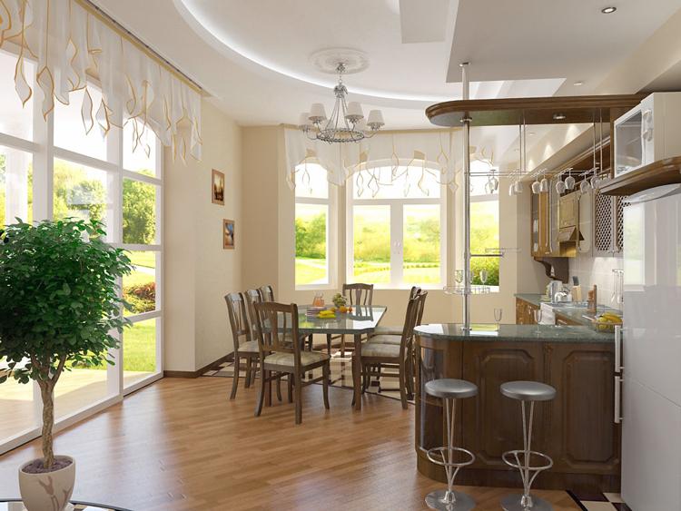 Дизайн кухни совмещенной с окном.